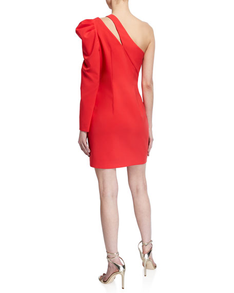 Image 3 of 3: Aidan by Aidan Mattox One-Shoulder Single Balloon-Sleeve Crepe Dress