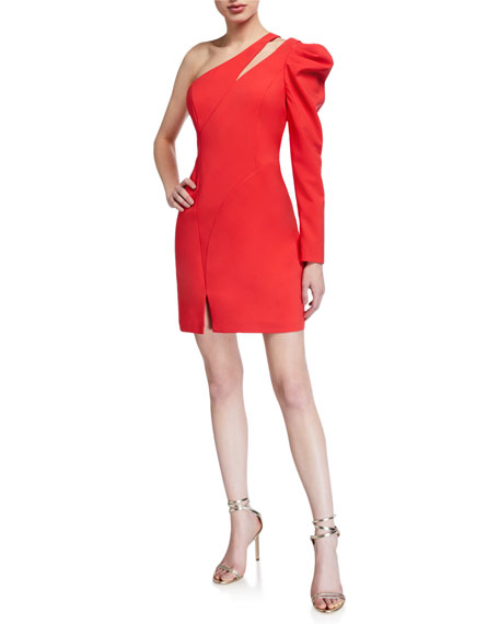 Image 1 of 3: Aidan by Aidan Mattox One-Shoulder Single Balloon-Sleeve Crepe Dress