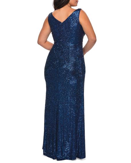 La Femme Plus Size Sequin V-Neck Sleeveless Column Gown
