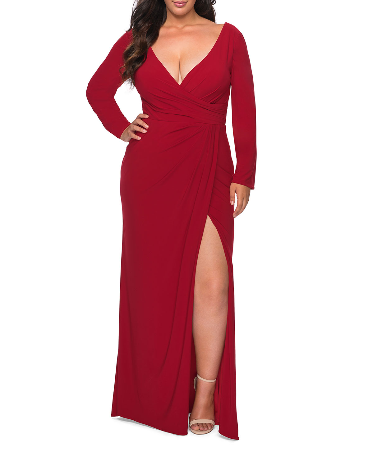 Plus Size V-Neck Long-Sleeve Jersey Column Gown