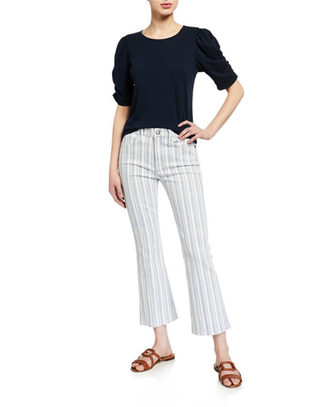 Image 3 of 3: FRAME Le Crop Mini Boot Striped Jeans