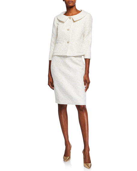 Image 1 of 3: Albert Nipon Rose Jacquard Two-Piece Jacket & Dress Set