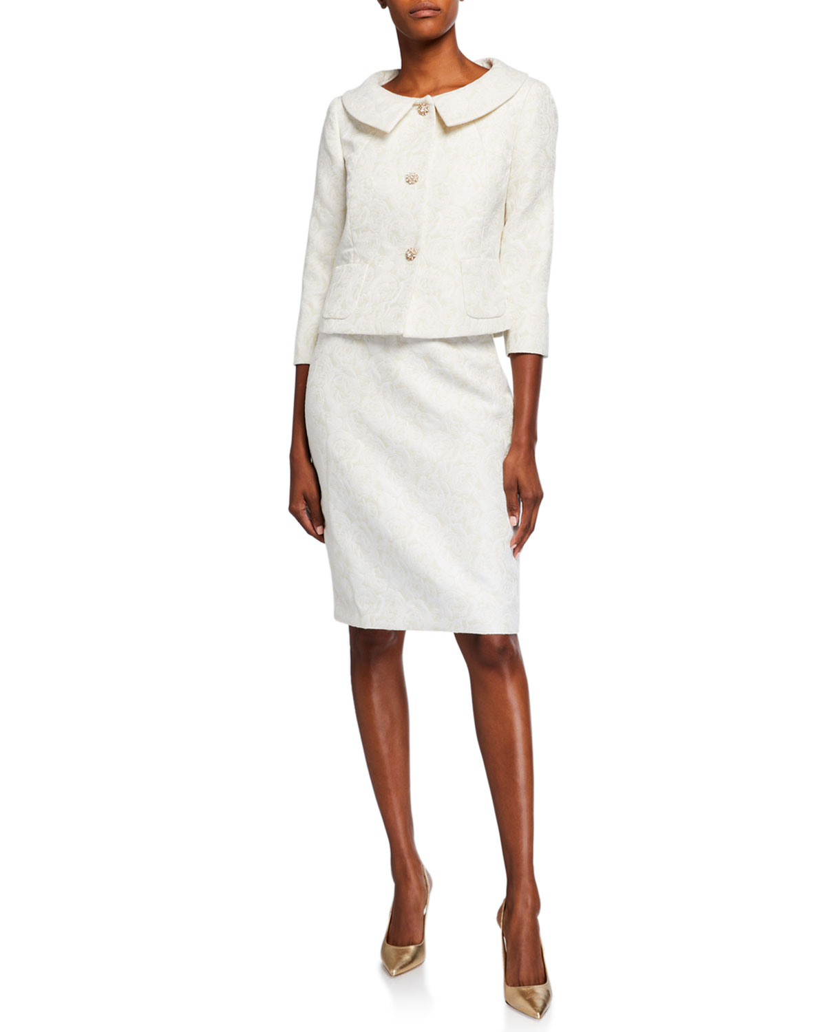 Albert Nipon Rose Jacquard Two-Piece Jacket & Dress Set