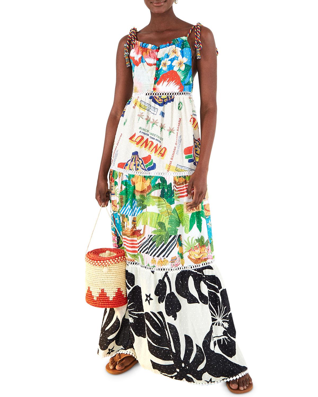 Farm Rio Farm Fair Tiered Printed Maxi Dress