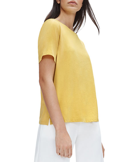 Eileen Fisher Plus Size Organic Cotton Short-Sleeve Crewneck Jersey Tee