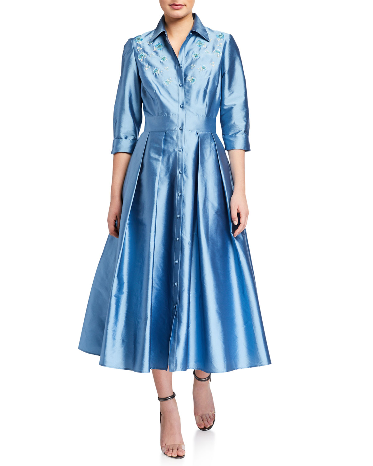 Carmen Marc Valvo Infusion Embroidered Taffeta Shirtdress