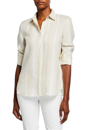 Lafayette 148 New York Scottie Tonal Stripe Blouse