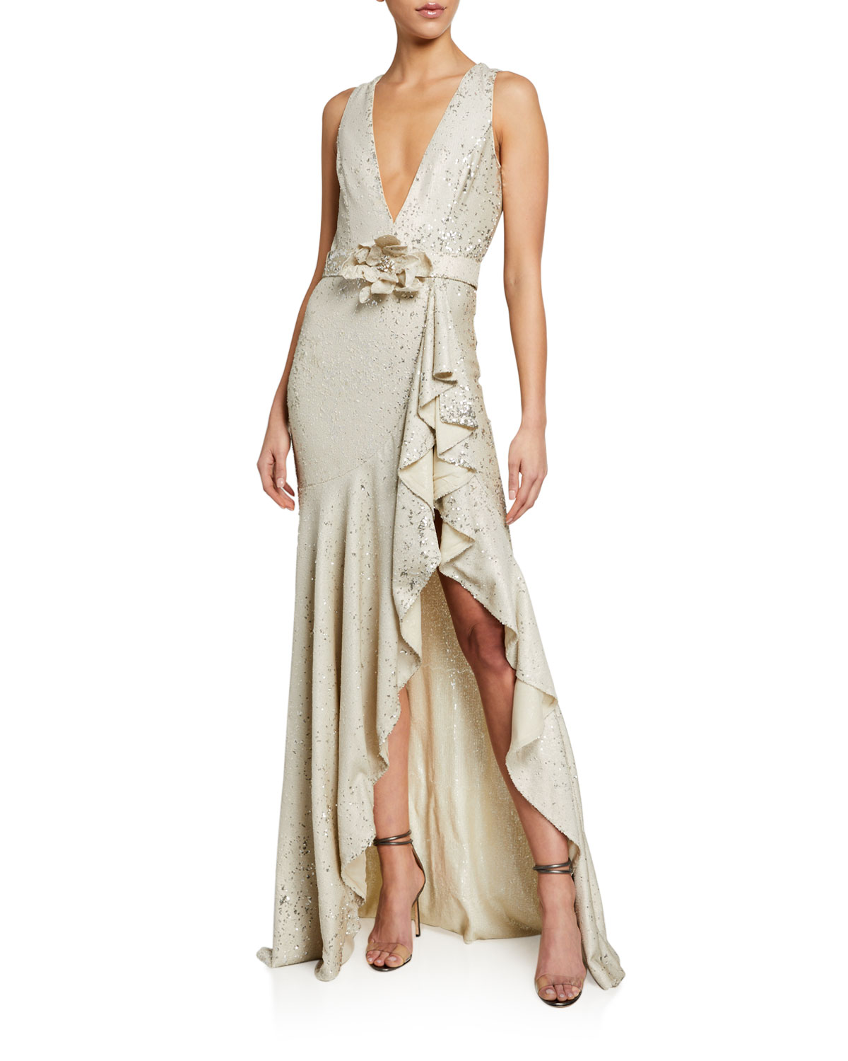 Badgley Mischka Collection Sequin V-Neck Sleeveless Side-Ruffle Gown