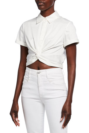 Alice + Olivia Phebe Twist-Front Button-Down Crop Blouse