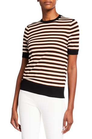 Lafayette 148 New York Striped Cotton Crepe Crewneck T-Shirt