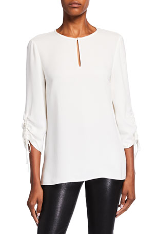 Lafayette 148 New York Jacoby Silk Double Georgette Blouse