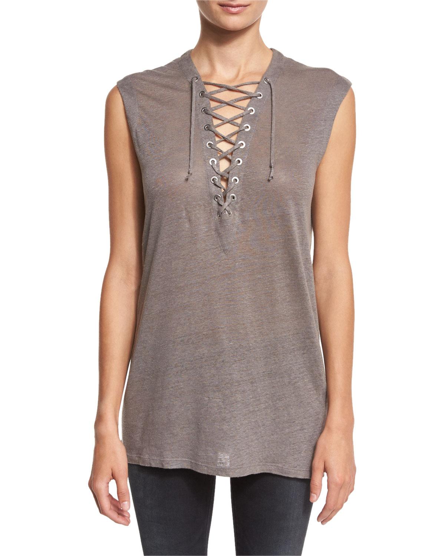 IroTissa Laced Linen Jersey Top, Stone Gray