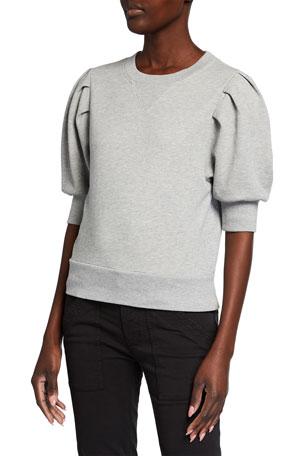 FRAME Shirred Short-Sleeve Sweatshirt