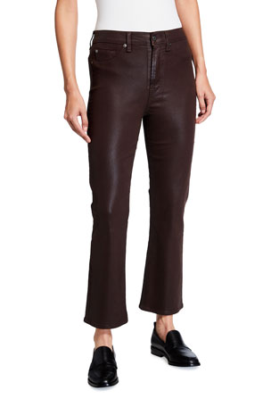 7 for all mankind High-Waist Slim Kick Coated Pants