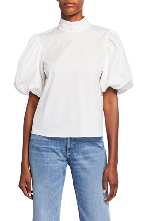 FRAME Margot Short Puff-Sleeve Cotton Top