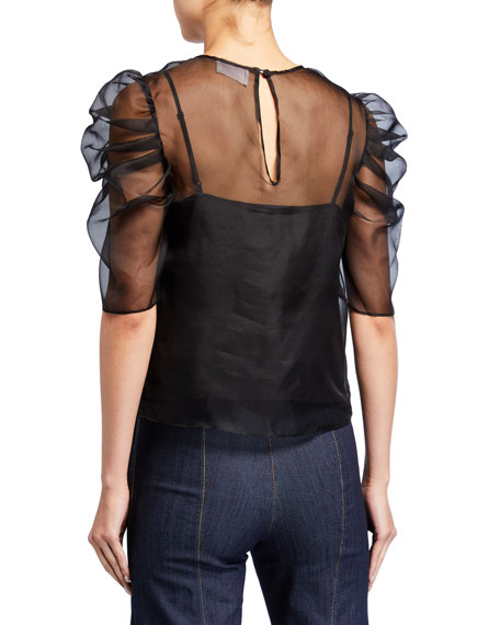 Image 2 of 2: Erin Silk Organza Ruched-Sleeve Top