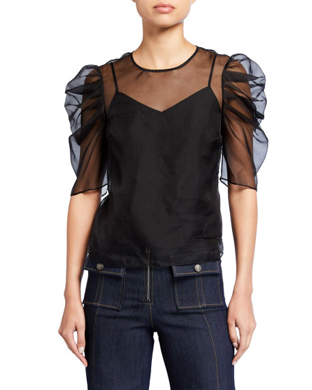 Image 1 of 2: Erin Silk Organza Ruched-Sleeve Top