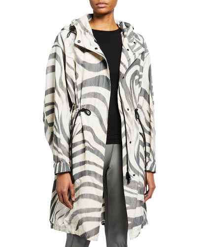 Moncler Achird Zebra Stripe Long Jacket