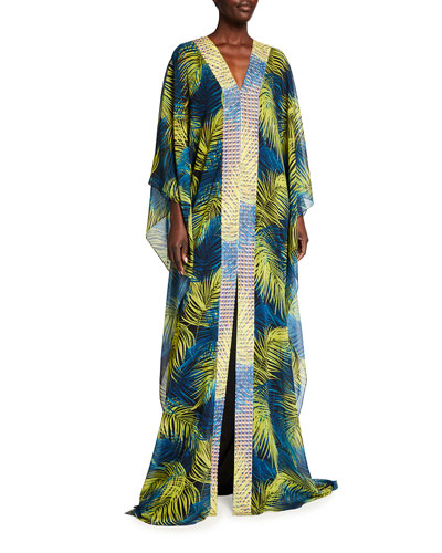 Badgley Mischka Collection Feather Print V-Neck Caftan with Contrast Border