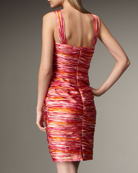Ruched Abstract-Stripe Dress