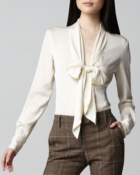 Tie-Neck Plunge Blouse, Cream