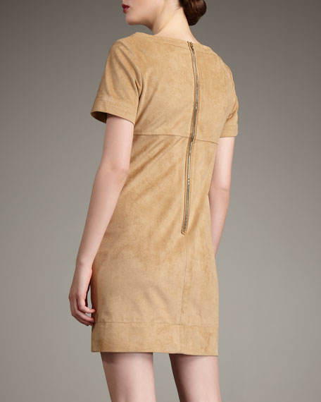 Sueded Zip-Detail Dress