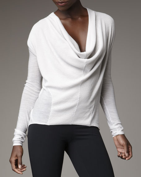 Sheer Cowl-Neck Pullover