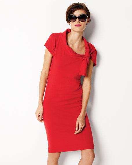Tie-Shoulder Knit Dress