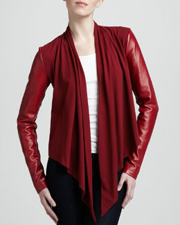 Bagatelle Drape-Front Leather Jacket