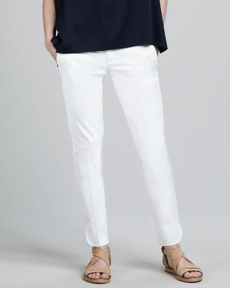 Slim Twill Pants, White