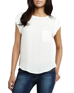 Joie Rancher Short-Sleeve Pocket Blouse (CUSP Top Seller!)