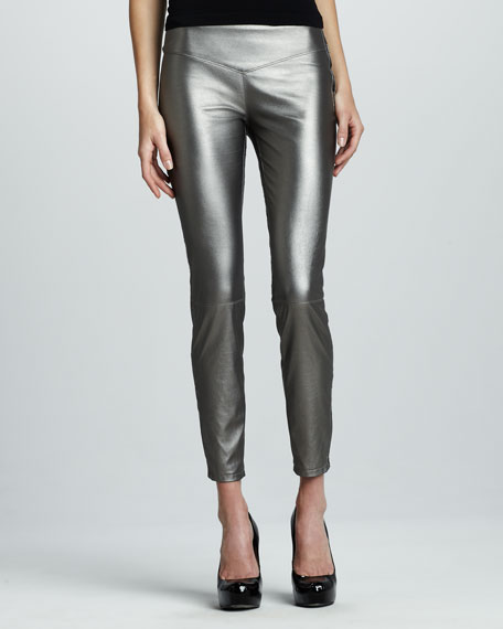 Faux-Leather Leggings, Gray