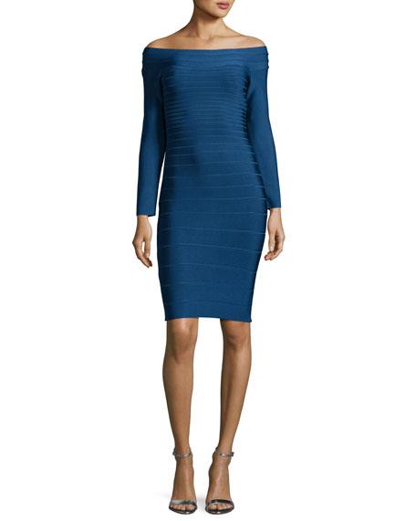 Long-Sleeve Bandage Dress, Shadow