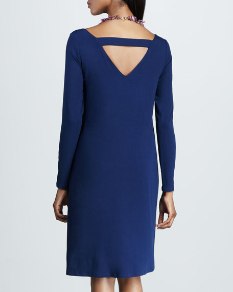 Jersey Scoop-Neck Dress, Petite