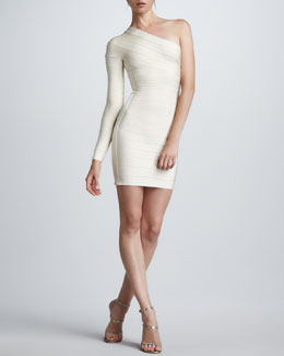 Herve Leger One-Sleeve Bandage Dress