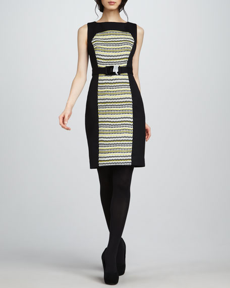 Fiona Pattern-Panel Dress, Chartreuse