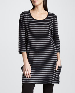 Joan Vass Striped Tunic, Petite