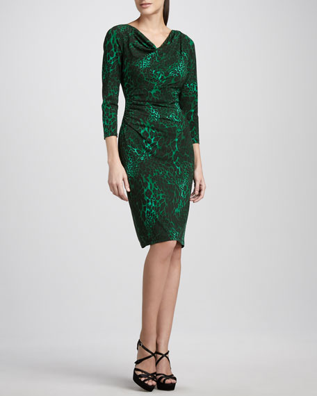 Animal-Print Ruched-Waist Dress