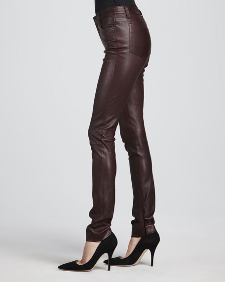 Textured Leather Jeans, Merlot