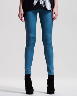 HELMUT Helmut Lang Gloss-Wash Stretch Leggings, Seastar
