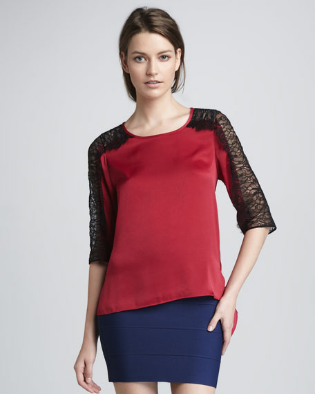 Lace-Sleeve Satin Top