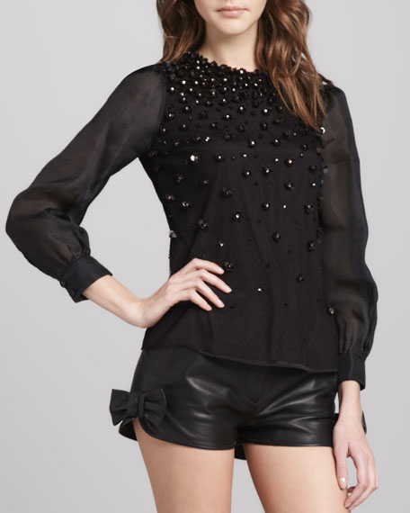 Floral-Beaded Top