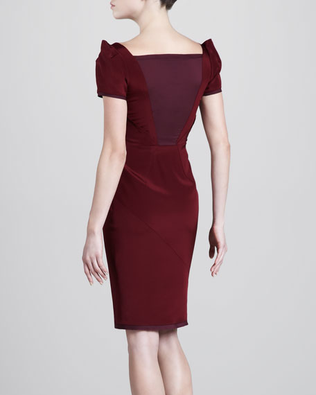 Stretch-Crepe Sleeveless Dress, Burgundy