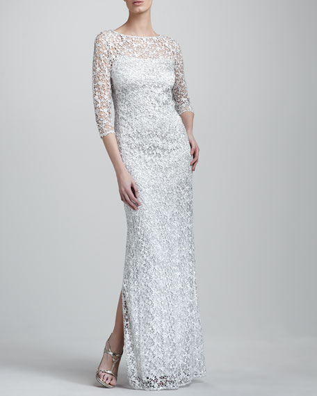 Three-Quarter-Sleeve Lace Gown