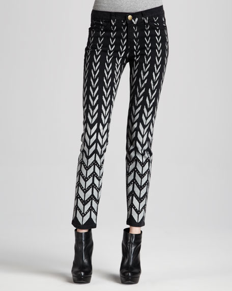 The Ankle Chevron-Print Skinny Jeans