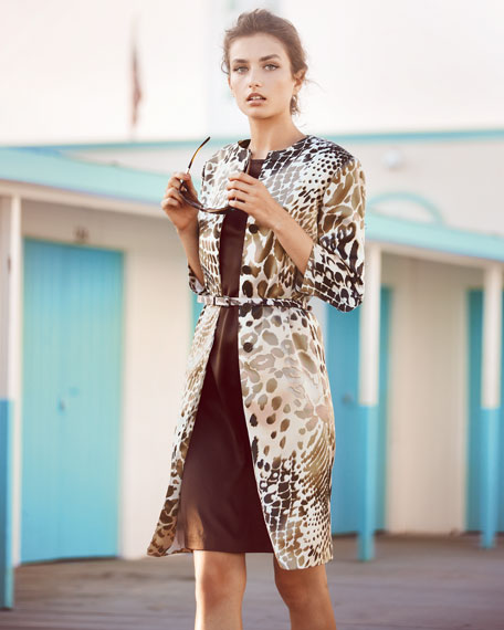 Animal Print Coat and Sheath Set Set