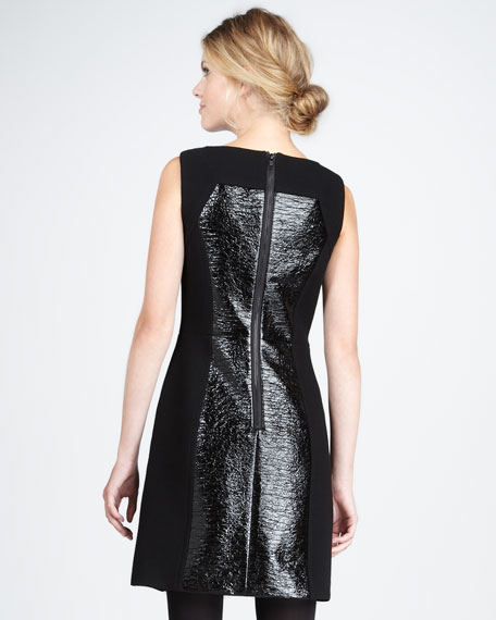 Nina Sleeveless Crinkle-Panel Dress