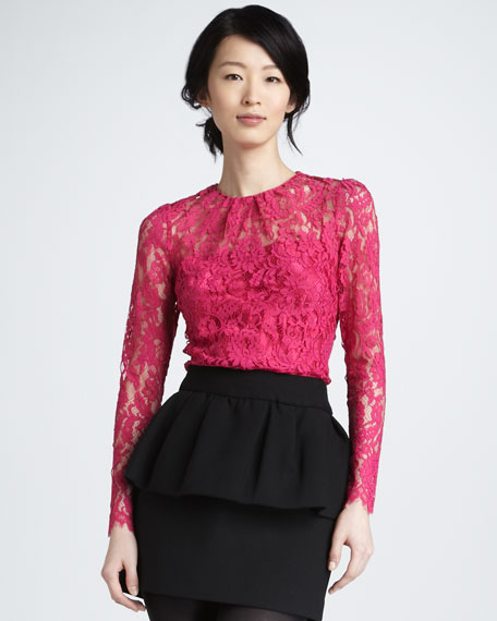 Ivy Sheer-Top Lace Blouse, Fuchsia