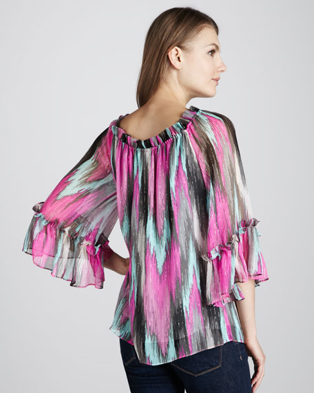 Shimmery Printed Peasant Top