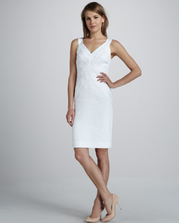 Milly Basket-Weave Poplin Dress
